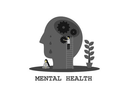 Abstract flat design grey and black color human skull, doctor fix the brain health care, women sit meditate, mental health day concept monochrome, emotional treat symptomatic of people stress mental