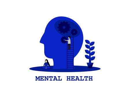 Abstract flat design blue color human skull, doctor fix the brain health care, women sit meditate, mental health day concept monochrome, emotional treat symptomatic of people stress mental problems