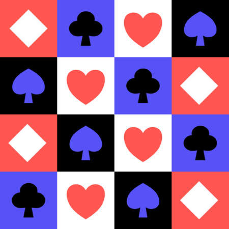 Abstract poker pattern hearts,clubs,spades and diamonds, square geometric poker card pattern, casino gambler sign, icon and symbol in blue red white and black color, flat design minimalist template