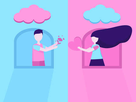 Flat design love hearts Valentine's Day in blue and pink colorful, couple man and women give flowers and hearts each other by the windows, lovely people sweet moments, send love and happy character