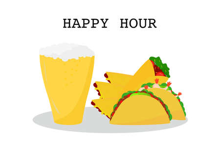 Flat design set prawns, beef taco tortillas burrito, quesadillas and Beer, set Mexican food and drink cuisine yummy prawns and beef tacos, burrito and beer isolated white background, text happy hour