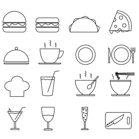 Flat design draw outline set food icon, stroke line food icon equipment, set icon restaurant food and drink equipment Çizim
