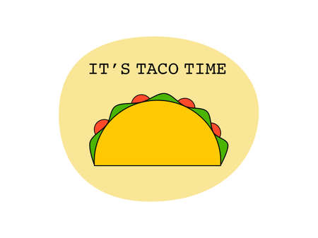 Flat design drawn outline taco icon tortillas Mexican food, Mexican spicy hot food cuisine yummy beef tacos, vector single Taco isolated in white background, text it's taco time, Mexican traditional Çizim