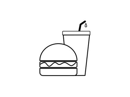 Drawn flat design outline burger and drink icon, icons fast food concept, set meal burger and drink, unhealthy junk food takeaway burger and drink, American food and beverages