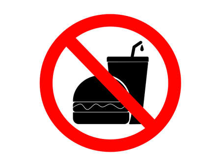 Flat design red round Black sign no food or drink arrowed, vector illustration drawn the rule no food and drink allowed, restriction prohibition sign and symbol isolated in white background Çizim