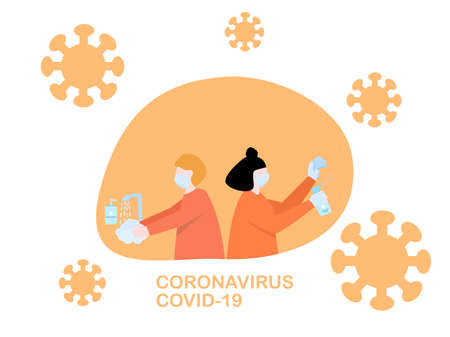 Flat design people cleaning sanitizer spray and washing hand by hand wash soap, protection from coronavirus or covid-19, group of people avoid from coronavirus by hygiene, fighting against healthcare