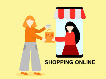 Flat design cartoon character two women shopping online store, technology online shopping in mobile phone app network, Digital marketing Concept, purchase on smartphone payment internet service Çizim