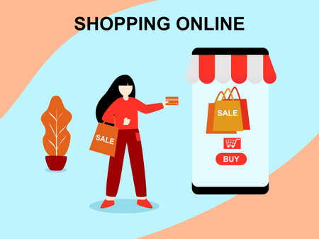 Flat design cartoon character women shopping online store, technology online shopping in mobile phone application network, Digital marketing Concept, purchase on smartphone payment internet service