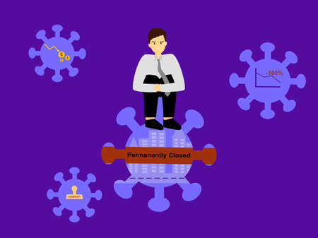 Flat design man sit on top covid-19 with sad face, impact economy from coronavirus, after pandemic virus impact to business company loses, business permanently closed from covid-19
