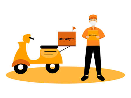 Food delivery with motorbike, deliveryman send food to your home, hot food delivery service from restaurant, marketing flat cartoon character scooter online order, motorcycle illustration vector
