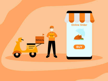 Food delivery with motorbike, deliveryman send food to your home, hot food delivery service from restaurant, marketing flat cartoon character scooter online order, Smartphone application order online
