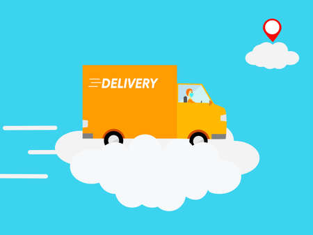 Flat design delivery truck driving fast on cloud in sky concept, courier service express speed delivery, shipping transportation by postman drive car on sky shipping fast service good to business Çizim