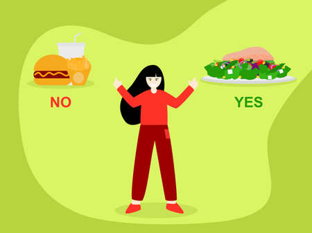 Women stand no with unhealthy and yes healthy food, cartoon character flat design vector choose salmon salad to lose weight, good diet women choosing between healthy and unhealthy food Çizim