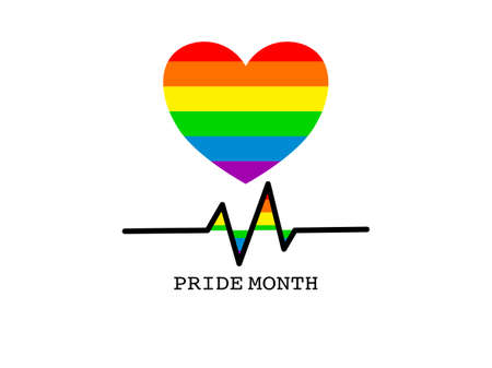 Abstract colorful heart rainbow lines striped, pride month rainbow colors, symbol of community modern flat design peace sign pride month concept, beating heart pattern LGBT theme background vector