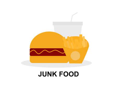 Junk food burger fries and drink, set meal and drink, high calories bad eat overweight, restaurant junk food unhealthy symbol flat design illustration Çizim