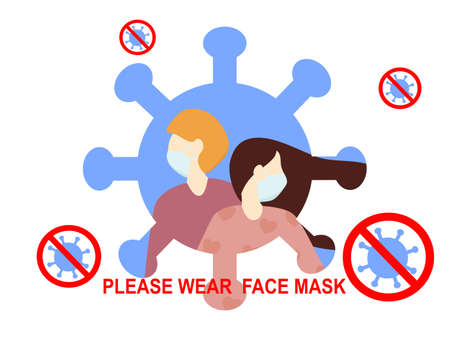 Flat design people wearing face mask stop virus, text please wear face mask , protection from coronavirus or covid-19, group of people avoid from coronavirus by hygiene, fighting against healthcare
