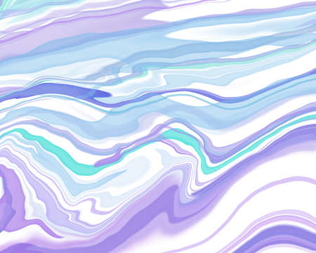 Abstract Liquid purple blue and white clear color, curve lines marble pattern textures, watercolor decoration fluid flowing acrylic art modern cool background, creative paint brush color Stok Fotoğraf