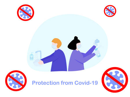 Flat design people cleaning sanitiser spray and washing hand by hand wash soap, protection from coronavirus or covid-19, group of people avoid from coronavirus by hygiene, fighting against healthcare Çizim