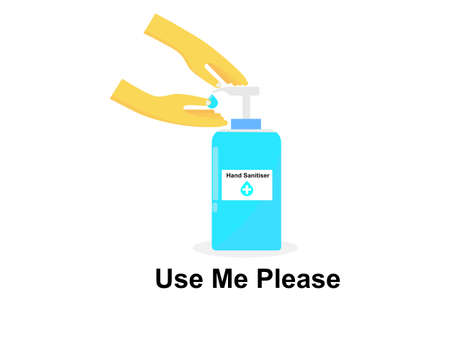 Flat design hand sanitiser gel, text use me please, hygiene antibacterial hand sanitizer isolation white background, protection from germs virus covid-19 or coronavirus use for sign poster
