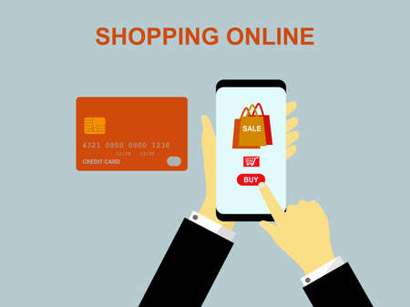 Flat design hand holding smartphone purchases order product sale and make a pay, shopping online by mobile phone internet, digital marketing store buy online shopping service, credit card payments
