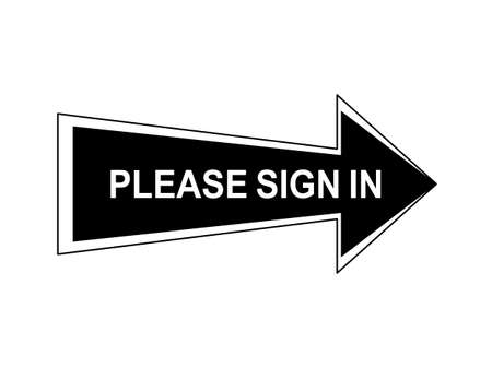 Abstract arrow sign black color in white background, text Please sign in, flat design arrow icon direction to right, triangle signal point order to right way Çizim