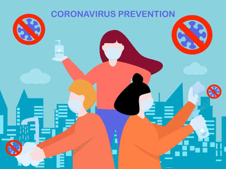 Flat design people cleaning sanitiser spray and washing hand by hand wash soap, protection from coronavirus or covid-19, group of people avoid from coronavirus by hygiene, text coronavirus prevention