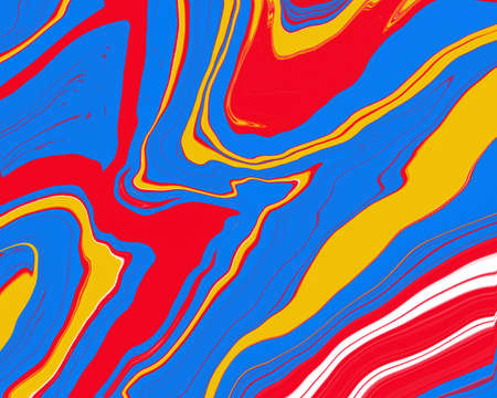 Abstract Liquid smooth Red blue and yellow fresh color, curve lines marble pattern textures, watercolor decoration fluid flowing acrylic art modern cool background, creative paint brush color