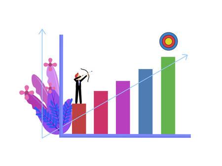 Flat design cartoon character man standing on graph point archer arrow to bullseye, target goal successful business, achievement success aim and progress, setting goals in life or career