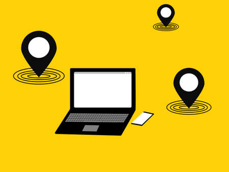 Flat design laptop And smartphone device location internet check in icon, network equipment isolated yellow background, technology data connection access empty screen copy space, vector illustration Çizim