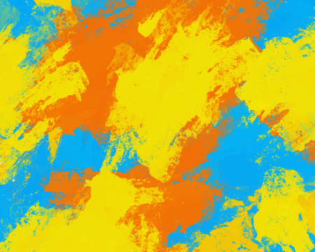 Abstract colorful art brush stroke creative design, watercolour yellow blue and orange color mix brushing art work, beautiful stain spread colour paint artist, illustration backdrop background Texture