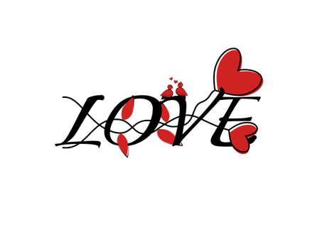 Font love with drawing red color hearts shape pattern, text love simple line art outline stroke, letter lover decoration romantic hand drawn isolated background, card design romantic Valentine's Day Çizim