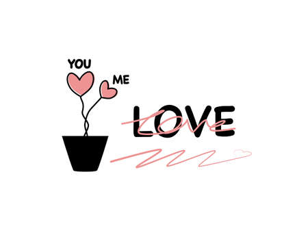 Abstract drawn flat design hearts shapes pattern in flower pot, Lettering text font you me love in black ink line, love design doodle cute lovely graphic pattern in isolated white background Çizim