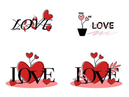 Abstract drawn flat design set hearts shapes pattern in flower plants, Lettering text font you me love in black ink line, love design doodle cute lovely graphic pattern in isolated white background Çizim
