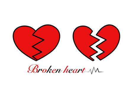 Abstract flat design red broken hearts outline red color, heart crack pattern couple vector illustration, unhappy love sign symbol relationship, lettering Broken heart and heart beat in isolated