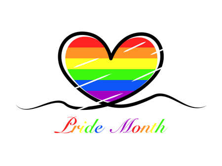Abstract rainbow heart line colorful pattern stroke trace, sign symbol heart shape outline, text pride month, community lgbt love rainbow color concept flat design, isolated white background Çizim