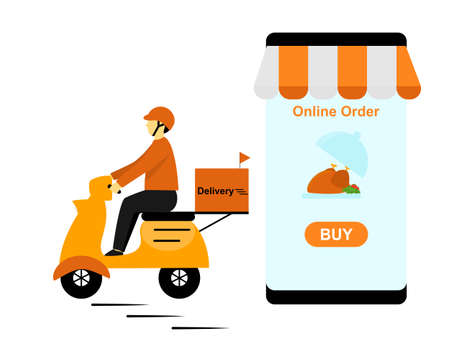 Food delivery ride motorbike, deliveryman send food to your home, hot food delivery service from restaurant, marketing flat cartoon character scooter online order, Smartphone application order online