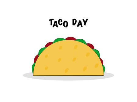 Flat design Mexican food taco single sign and symbol in isolated white background, text lettering taco day, vector illustration outline drawn tortilla shell single meal restaurant fast food Çizim