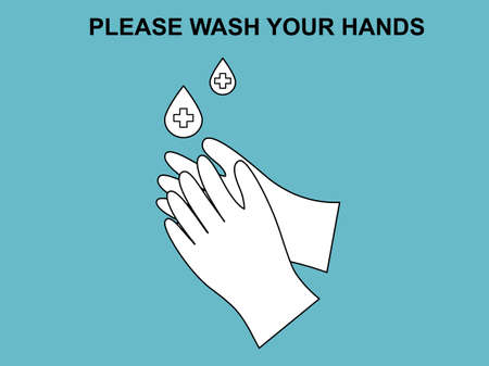 Flat design icon sign symbol hands washing medical healthcare hygienic, text lettering please wash your hands, cleaning hand poster vector illustration prevention from virus bacteria and germ