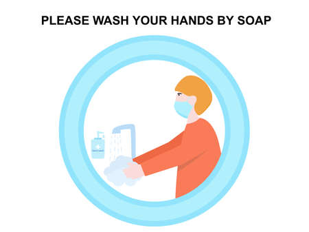 Man washing his hands cartoon character poster sign keep clean healthcare medical, text please wash your hands by soap, isolated white background, prevention virus poster design vector illustration
