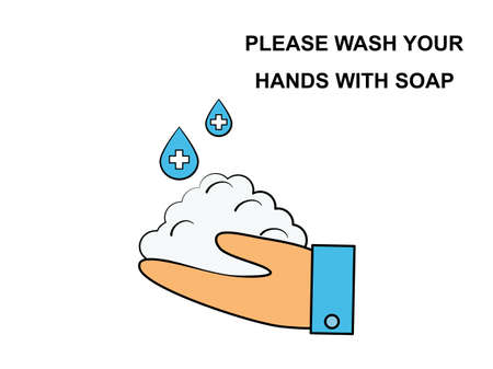 Flat design drawn outline hand sign and symbol, hand washing medical healthcare hygienic, text lettering please wash your hands with soap, hygiene cleaning poster vector Illustration