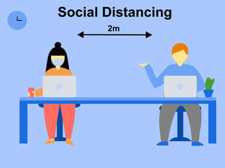 Flat design cartoon character woman and man social distancing 2 meters away at workplace, isolation in office poster sign Keep distance protect from coronavirus situation, text social distancing 2m