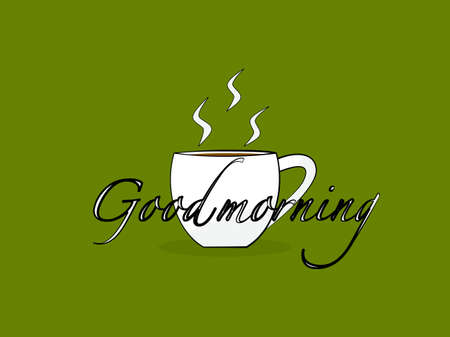 Hand drawn flat design coffee cup outline stroke simple doodle, text lettering good morning, beverage restaurant and cafe sign poster advertising morning day with white coffee cup green background