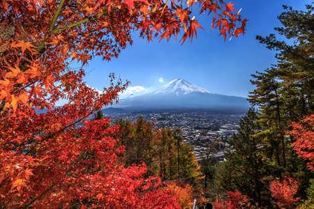 kawaguchi: Beautiful landscape Japan  , Mt.Fuji sunset Stock Photo