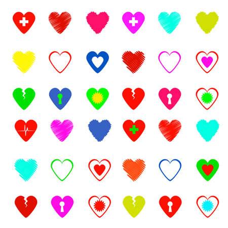with sets of elements: heart set Illustration