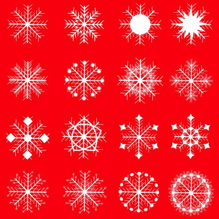 isolated on red: snowflake set