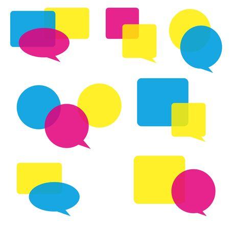 annotation: Set of colorful speech bubbles