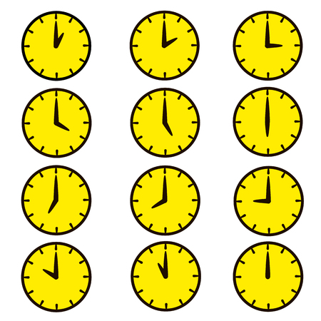 Set of clocks for every hour