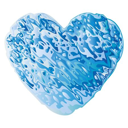 Valentine heart made of blue water