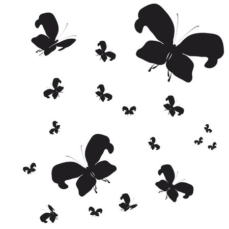 butterfly isolated: silhouette,beautiful butterflies, isolated on a white Illustration