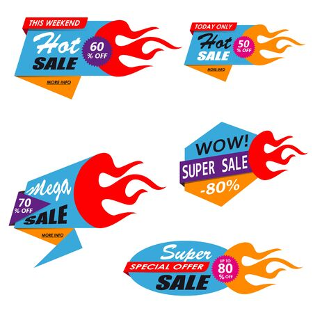Super Sale, mega sale, weekend sale, best sale. Set banners